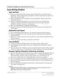 essay writing checklist by mahfoudh hussein mgammal student academic learning services essay writing checklist page 1 of 1 topic and thesis • •