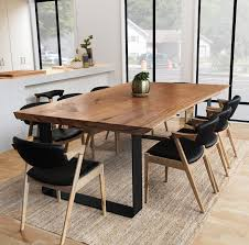 black live edge slab dining table