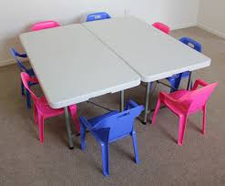 10 childrens pink and blue chairs and table hire