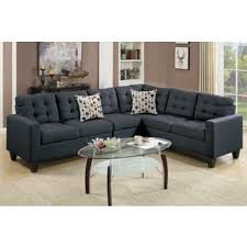 Linen-like Upholstered 4-piece Left or Right Hand Sectional Sofa Set (Option