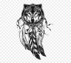 Aztec Dream Catcher Tattoo Cool Gray Wolf Dreamcatcher Tattoo Drawing Wolf Avatar Png Download