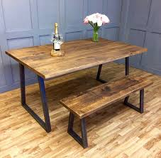 Industrial Dining Table Rustic Solid Antique Kitchen Farmhouse
