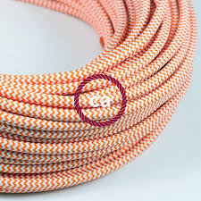 fabric lighting cord. round electric cable covered by rayon fabric zigzag rz15 orange lighting cord