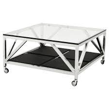eichholtz prado modern classic glass top faux leather square wheeled coffee table kathy kuo home