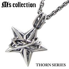 m s collection m collection pendant necklace chain included thorn star pendant thorne series star pendant small silver 925 made in men s
