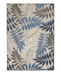 gray blue botanical aloha indoor outdoor rug