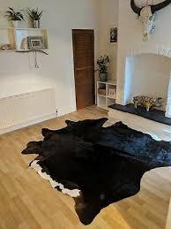 ikea koldby cow hide rug black white brown extra large genuine leather