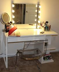 modern mirrored makeup vanity. Furniture: Interesting Small Makeup Vanity Desk Featuring Bottom Side Open Shelves And Upper Lighted Mirror Modern Mirrored