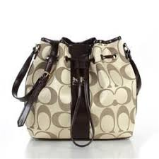 Coach Drawstring Medium Apricot Coffee Shoulder Bags FCA