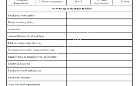 Free Employee Evaluation Forms Review Form Template Jeopardy