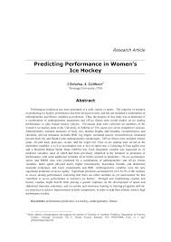 pdf predicting performance in women s ice hockey