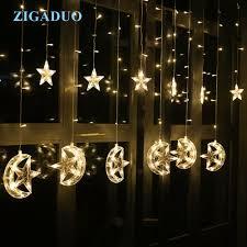 Fairy Lights Moon Moon Star Icicle Led Curtain Fairy String Lights 2 5m Led
