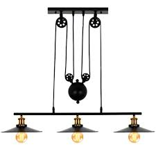 Pulley Ceiling Light Fixture Lampundit Industrial 3 Light Pulley Island Pendant Light Adjustable Kitchen Island Light Fixture For Indoor Pool Table Farmhouse Bar Table Ceiling