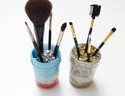 diy mason jar makeup brush holders