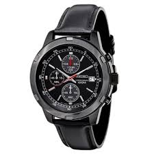 seiko men s watches shop the best deals for 2017 seiko men s sks439 black leather strap chronograph sport watch