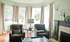 Window Curtain For Living Room Living Room With Long Curtains Using Rods Good Bay Window
