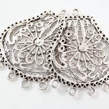 2 large exotic filigree chandelier earring component pendant 5