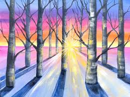 easy winter birch tree s acrylic painting tutorial in acrylic for beginners this is a fully guided painting anyone can do from home