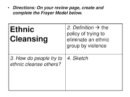 Frayer Model Directions Ppt 1 Objective Read Swbat Explain Ethnic Cleansing 2