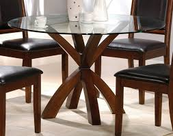 oak glass round dining table style our home round glass top combined with crossed brown wooden legs plus