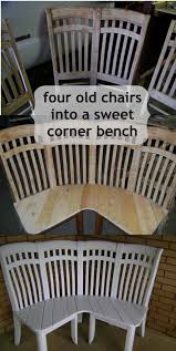 cute corner bench made from 4 chairs using 4 old chairs this lady made the cutest corner bench ever i want to find some old chairs to repurpose