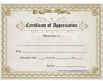 Free Printable Certificates Of Appreciation Awards Templates
