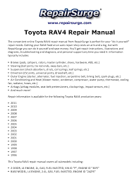 Toyota rav4 repair manual 1996 2011
