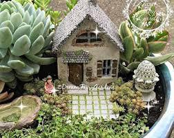 faerie garden. Fairy Garden House, Cottage, Tiny Miniature Gnome Faerie