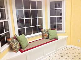 Decorations:Splendid Bay Window Seat Cushion Canvas Cover On Laminate  Wooden Floor Also Clear Glass