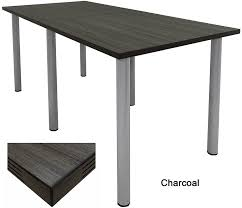 standing height conference tables w round post legs in white mocha maple black or charcoal top
