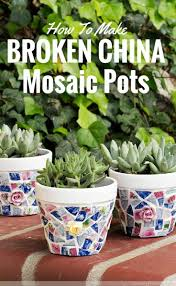 cover flower pots with broken china diy project