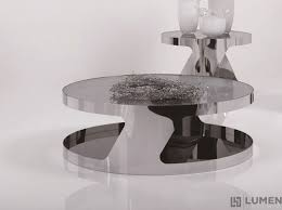 glass chrome circular coffee table
