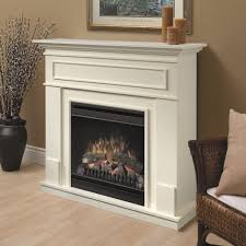 Appealing White Corner Electric Fireplace Featuring White Fireplace Mantel