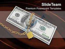 Money Background For Powerpoint Locked Money Financial Security Concept Powerpoint Templates Ppt