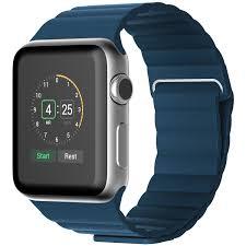 jetech blue leather loop apple watch strap
