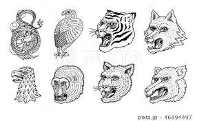 動物 顔 トラ ウサギのイラスト素材 Pixta
