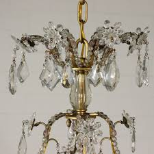 chandelier 8 arms crystal pendants italy early 20th century