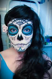 blue sugar makeup sugar skull by mitternachto
