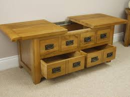 rustic storage coffee table with sliding