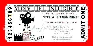 Admit One Party Invitations Printable Movie Ticket Birthday Party