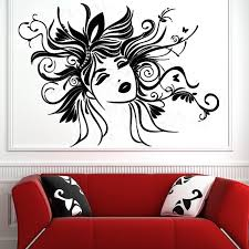 Small Picture Sexy Women Wall Sticker Removable Vinyl Art Design Head Of Flower