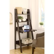 furniture dark brown wooden ladder shelf computer desk leaning on white wall and laminate flooring