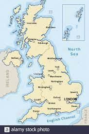 Regno Unito mappa vettore - principali città segnato sulla mappa del Regno  Unito Immagine e Vettoriale - Alamy