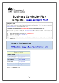 Example Business Continuity Plan Template Templates Resume