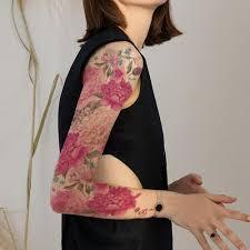 большая рука временные татуировки наклейки красочные пион розы цветы поддельные