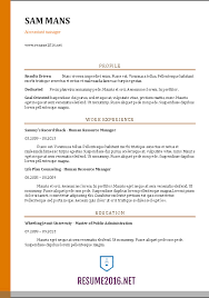 Awesome Standard Resume Format For Accountant 45 On Resume Sample with Standard  Resume Format For Accountant