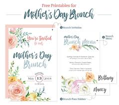 Mother S Day Menu Template Mothers Day Brunch Printable Menu Invitation And Place