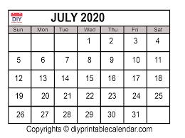 Printable Monthly Calendar July 2020 July 2020 Printable Calendar Template