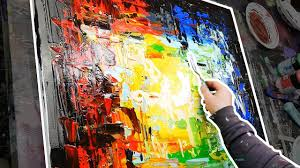 abstract painting acrylics demonstration step by step painting only with palette knife tunnel