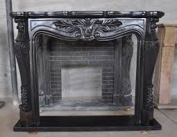 black marble fireplace surround and mantle
